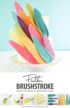 Cake Brushstroke Cake - how to make a Kalabasa inspired feather cake using candy melts and everyday tools Creative Cake Decorating, Cake Decorating Techniques, Cake Decorating Tools, Creative Cakes, Wilton Cake Decorating, Baking Ideas Creative, Beginner Cake Decorating, Decorating Ideas, Decor Ideas