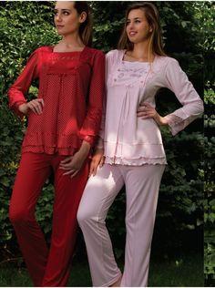 Bone Lohusa Pijama Takımı 3726 Ekru - Kırmızı - Pembe renklerde kolları ve yakası dantel işlemeli lohusa pijama takımı Bone #LohusaPijama Modelleri 2014/15 Sonbahar-Kış Koleksiyonu http://www.pijama.com.tr/lohusa-pijama #boneiçgiyim #hamilegiyim #lohusagiyim #hamilepijama #lohusa #hamile #lohusapijama