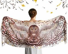 This unique bohemian wings and bird feathers shawl scarf features:  Delicately hand-painted and then digitally printed Art of a Night Owl - Silent Flight. This is a highly detailed representation of the mysterious gorgeous creature, my favorite totem animal. This scarf would make the most amazing gift for your loved ones!  Truly versatile, this scarf looks great paired with any outfit, SO many ways to wear it! Classic scarf or shawl, tube top or halter top, as a bandana or turban, sarong or…