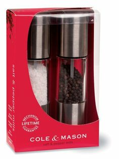 Cole and Mason Oslo Salt and Pepper Mill Set, Stainless Steel and Clear Acrylic, Gift Set by Cole and Mason. $41.00. Durable, adjustable stainless steel mechanism for grinding pepper from fine to coarse. Designed in England. Anti-corrosion, clog-free nylon mechansim for grinding salt from fine to coarse. Made from robust stainless steel, chrome and crystal clear acrylic for contemporary styling. Lifetime Guarantee on grinding mechanism. Cole and Mason, the leading Brand of sal...