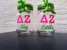 Delta Zeta Sorority mason cup personalized custom W/lid straw & bow PERFECT gif! $7.50 each.  https://www.etsy.com/listing/167496753/delta-zeta-sorority-mason-cup?ref=shop_home_active