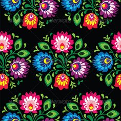 Seamless Traditional Floral Polish Pattern  #GraphicRiver         Repetitive colorful pattern on black background – polish folk art pattern  FEATURES:   100% Vector Shapes  All groups have names  All elements are easy to modify – you can change coulours, size  Pack include version AI, EPS, JPG                      Created: 27 November 13                    Graphics Files Included:   JPG Image #Vector EPS #AI Illustrator                   Layered:   Yes                   Mir