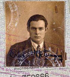 Hemingway's Passport with Paris stamp via Wikimedia Commons.