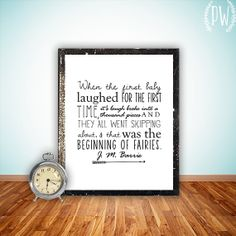 Nursery Quote Printable, Wall art Decor, Print Nursery art, when the first baby laughed, Peter Pan, digital typography