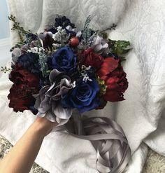 Items similar to Wedding Bouquet Burgundy Navy Blue Red Peony Steel Silver Eucalyptus Wedding Maroon Grey Package Artificial Faux Flowers Wedding Decor on Etsy Cascading Wedding Bouquets, Red Bouquet Wedding, Blue Wedding Flowers, Blue Bouquet, Wedding Colors, Bridesmaid Bouquets, Burgundy Flowers, Flower Bouquets, Navy Blue Wedding Cakes