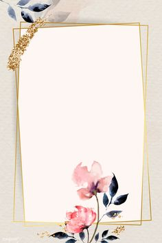 Golden rectangle with floral frame vector | premium image by rawpixel.com / Adj Framed Wallpaper, Flower Background Wallpaper, Frame Background, Cute Wallpaper Backgrounds, Flower Backgrounds, Background Patterns, Cute Wallpapers, Homescreen Wallpaper, Iphone Wallpaper