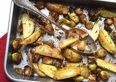 Skinny Six: Geroosterde aardappeltjes en spruitjes. #kerst #bijgerecht #aardappeltjes #spruitjes #skinny #skinnysix
