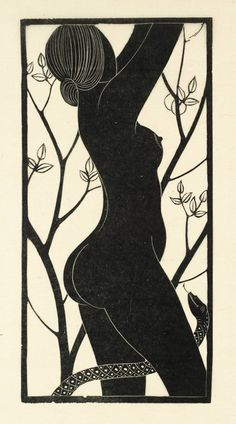 """""""Eve"""" by Eric Gill (1926).  Tate Collection.  Relief print on paper. Love this."""