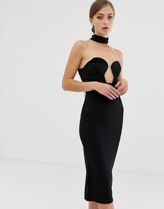 3c67c3455a ASOS DESIGN midi bandeau bodycon dress with chain back detail