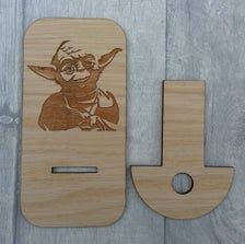 Unique Laser cut and engraved Yoda Phone stand based on the   Etsy Oak Veneer Plywood, Phone Stand, Stargazing, Craft Gifts, Chair Design, Laser Cutting, Laser Engraving, Vikings, Star Wars
