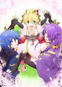 """Len:""""Mister Gakupo, could you teach me and Kaito how to be a samurai? Gakupo Kamui, Kaito Shion, All Anime, Anime Guys, Vocaloid, Kagerou Project, Mobile Wallpaper, Cherry Blossom, Samurai"""
