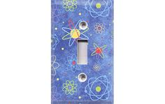 Blue Atoms Light Switch Cover