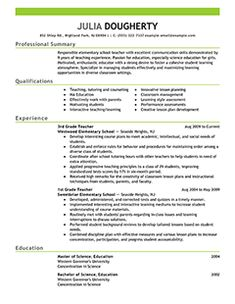 teacher resume examples education sample resumes livecareer
