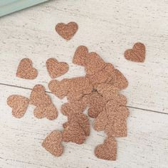 Rose Gold Glitter Confetti Hearts 1 Inch Heart by WildfireEvents