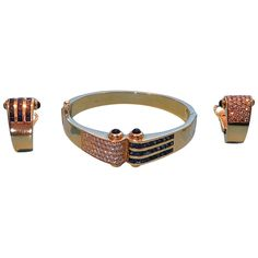 Sapphire Diamond Gold Bangle and Earrings Set For Sale at Sapphire Diamond, Blue Sapphire, Gold Bangles, Bangle Bracelets, Clip On Earrings, Earring Set, Jewelry Watches, Pairs, Belt