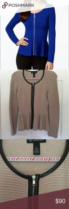 Tan and Black Peplum Cardigan Gorgeous tan and black peplum cardigan with zipper. Cardigan is lined with faux black leather. Model pic is for fitting reference. Only worn one time! In great condition! INC International Concepts Sweaters Cardigans