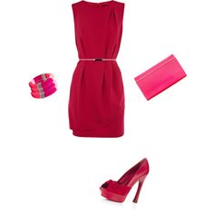 fuchsia dress with skinny pink belt...love this look!
