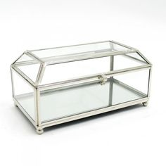 Clear Glass Tea Jewellery Box With Nickel Framework 6 Section