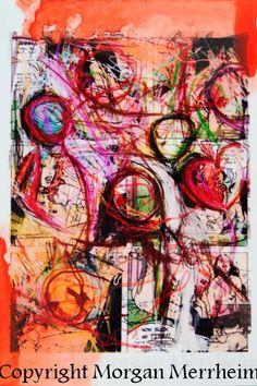 Dessin Original sur oeuvre numérique Morgan Merrheim Street Art Singulier Coeurs