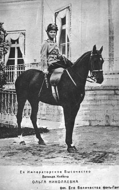 Olga, eldest daughter of Emperor Nicholas II, later Grand Duchess of Russia, on a horse outside the Alexander Palace, circa 1910.