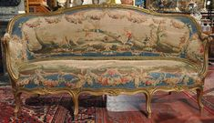 """Elegant antique Louis XV sofa, or """"canape a corbeille"""" from France, circa upholstered with the original Aubusson tapestry. The sinuous frame features eight cabriole legs, intricate carvings, floral tapestry motifs and original gilt finish. French Country Rug, French Country Decorating, French Style, Shabby Chic Furniture, Antique French Furniture, Royal Furniture, Classic Furniture, Upcycled Furniture, Old World"""