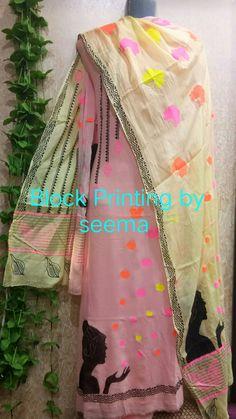 Designer Punjabi Suits, Indian Designer Wear, Ethnic Outfits, Indian Outfits, Embroidery Suits Design, Embroidery Designs, Fabric Paint Designs, Hand Painted Dress, Salwar Suits Party Wear