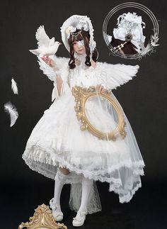 Black Angel and White Angel Unicolor Lolita OP Dress Harajuku Fashion, Japan Fashion, Lolita Fashion, Visual Kei, Pastel Grunge, Kawaii Clothes, Doll Clothes, Black Angels, Gothic Lolita