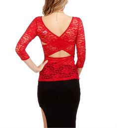 Red Lace Cross Back Top
