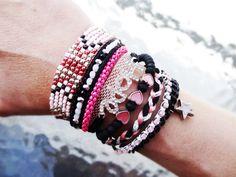 black and pink brazilian bracelet, boho style, multi strand wristband, magnetic clasp closure, hippie cuff, summer bracelet by What2WearByNana on Etsy