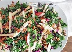 Kale, Apple & Pancetta Salad. I don't know about using too much of the pancetta drippings though, last time I did that for Mac N Cheese it wrecked my stomach