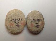 Original painting outsider Kaveman art face rock painted stone Alice Wonderland #OutsiderArt