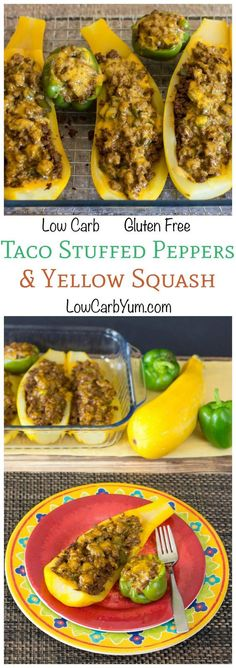 No need to bother with taco shells or tortillas with these delicious low carb taco stuffed peppers and yellow squash. Just stuff and bake. Use zucchini too!