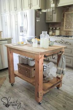 DIY Mobile Kitchen Island! Love The Rustic Look! FREE Plans U0026 Tutorial At  Shanty 2 Chic.com (scheduled Via ...