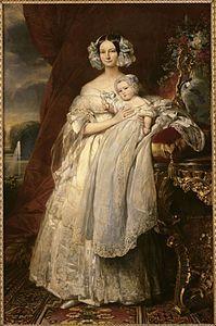 ELENA DI MECLEMBURGO-SCHWERIN(1814-1858), FIGLIA DI FEDERICO LUDOVICO GRANDUCA EREDITARIO (1778 - 1819), E DELLA 2^MOGLIE CATERINA LUISA DI SASSONIA-WEIMAR-EISENACH ANDO' SPOSA NEL 1837 A FONTAINBLEAU AL PRIMOGENITO DI LUIGI FILIPPO RE DEI FRANCESI FERDINANDO FILIPPO.IL FIGLIO LUIGI FILIPPO (II PER I MONARCHICI) PER POCHE ORE FU SUL PUNTO DI SALIRE AL TRONO CON LA REGGENZA DI ELENA, MA EBBERO LA MEGLIO I REPUBBLICANI. ELENA COMUNQUE CONTINUO' A RIVENDICARE IL TRONO DI FRANCIA PER IL FIGLIO