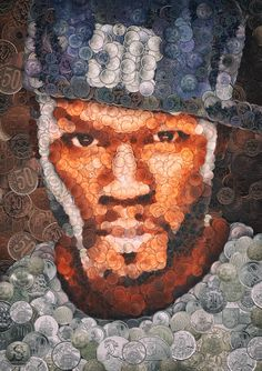 •Portrait collage of an American rapper 50 Cent made of over 5000 coins of the world  by Arseny Samolevsky