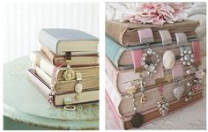Love this do-it-yourself bookmarks made from velvet ribbon and antique jewelry.