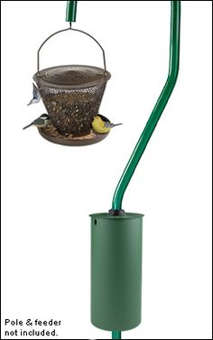 """$19 Squirrel Baffle - Lee Valley Tools - This clever device attaches to a bird feeder pole to keep squirrels out. There is no way a squirrel can get by this baffle; it's too slippery to grip and too long to reach over. Fits any pole from 1/2"""" to 1-1/4"""" in diameter. Made from powder-coated steel. Measures 12"""" long and 5-1/2"""" in diameter"""