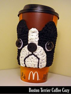These adorable Boston Terrier coffee cozies make great gifts and stocking stuffers for all of your puppy-loving friends and barely use any yarn. Make one for everybody you know! Keeps your iced coffee cool and your hot coffee hot! Plus… they are Earth-friendly since they are re-useable!