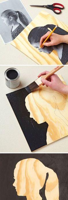 1 photocopie d'une photo de profil + 1 carton rigide ou un contreplaqué + de la peinture noire : une silhouette
