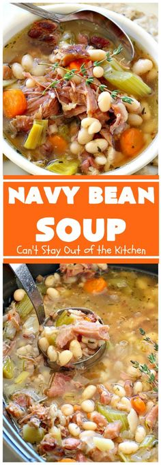 Bean Soup Navy Bean Soup - this easy recipe is a terrific way to use up leftover from the Totally filling & satisfying.Navy Bean Soup - this easy recipe is a terrific way to use up leftover from the Totally filling & satisfying. Ham And Beans, Ham And Bean Soup, Ham Soup, Crock Pot Soup, Crockpot Navy Bean Soup, Bacon Soup, Crock Pots, Potato Soup, Baked Potato