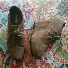 Charlotte Russe Suede Wedges Tan/brown suede wedges, ties in front. Barely worn, in great condition! Charlotte Russe Shoes Wedges