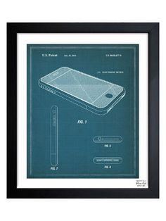 Apple iPhone, 2010 (Framed) from 95 Technical Drawings Under $95 on Gilt