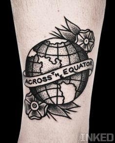 """Mike Adams - solid black and grey traditional - globe with flowers """"Across the Equator"""""""