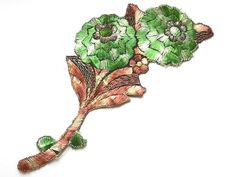 Beautiful vintage silk embroidered applique of a branch with green flowers. It dates from the thirties and was made in Holland.  Size: ± 12 x 23 cm. (4.7 x 9inches) It is in very good condition.  For more vintage items please visit our shop: http://www.minoucbrocante.etsy.com  For combined shipping please contact us. We also combine shipping with our other Etsy shop where we sell shabby chic and Delft blue jewelry: http://www.minouc.etsy.com