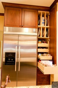pullout cabinet drawers work equally well in pantries or in the