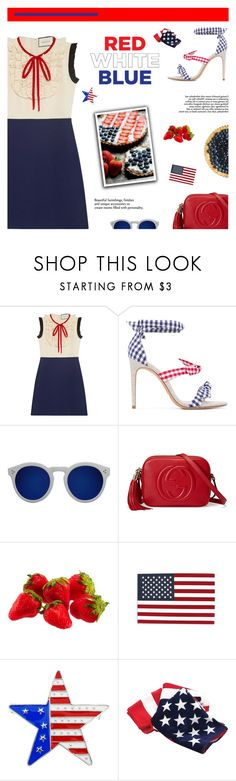 """Celebrate the 4th!"" by paradiselemonade ❤ liked on Polyvore featuring Gucci, Alexandre Birman and Illesteva"