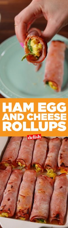 Egg & Cheese Roll-Ups Ham, Egg & Cheese Roll-Ups are like low-carb breakfast burritos. LCHF and keto. Get the recipe on /.Ham, Egg & Cheese Roll-Ups are like low-carb breakfast burritos. LCHF and keto. Get the recipe on /. Healthy Snacks, Healthy Eating, Breakfast Healthy, Carb Free Breakfast, Atkins Breakfast, Healthy Egg Recipes, Ketogenic Breakfast, Breakfast Ideas For Diabetics, Low Card Breakfast Ideas