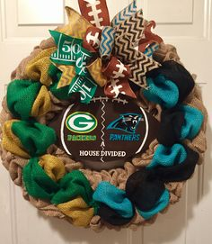 A personal favorite from my Etsy shop https://www.etsy.com/listing/555857195/greenbay-packers-wreath-carolina
