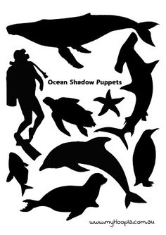 shadow puppets templates - Pesquisa Google Shadow Theatre, Toy Theatre, Stencil Patterns, Stencil Art, Puppets For Kids, Diy Gifts For Kids, Shadow Play, Shadow Puppets, Ocean Themes