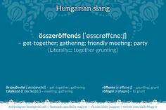 összeröffenés [ˈøssɛrøffɛneːʃ] – get-together; gathering; friendly meeting (slang) [Literally::: together-grunting]